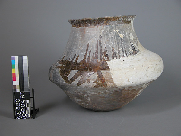 This white plaster fill was made by a restorer at some point in the early 20th century. The shape of the fill does not integrate well with the original pot. Today, such fills are unacceptable in a research collection as they require too much guesswork about the precise shape of the missing section of the original pot. In addition, fills hide the broken sherd edges that can offer important information about firing condition, temper types, clay sources, and more.
