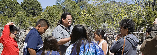 Students participate in a program on the museum's Avanyu Heritage Trail